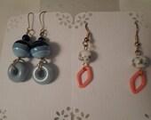Vintage / STRIPED & CONFETTI / Pierced Earrings / BOGO / 2-Fer / 2 Pair Set / Dangles / Instant Collection / Lot / Orange / Blue / Unique