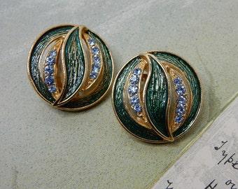 Signed HOLLYCRAFT Green Enamel Leaf & Rhinestone Clip On Earrings