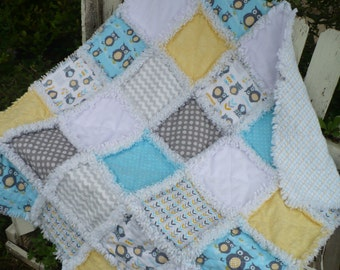 REDUCED 20% - Baby Boy Rag Crib Quilt -Fresh and Modern Owls Chevrons Dots with Minky Aqua Blue Gray - Ready to Ship