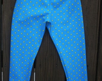 Turquoise  Yellow Knit Leggings   Leggings  Baby Leggings Blue Yellow Polka Dots   Leggings   Knit Leggings