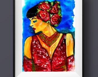 Bohemian gypsy decor - hippie bedroom decor - woman portrait print - flamenco dancer - boho - figurative - portraiture - sensual art