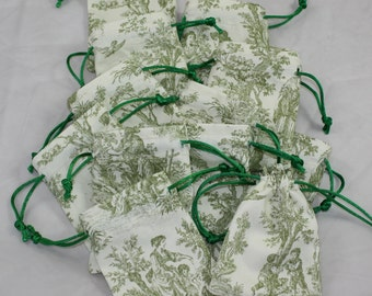 "Sage Green French Toile Party/Wedding Gift Favors Drawstring Bags 5""x4""  12 pieces"