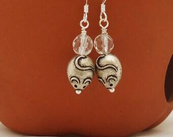 Clear Quartz Earrings, Mice Earrings, Dangle Mouse Earrings, Funny Earrings