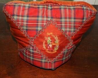 Tea cozy Frae Bonnie Scotland red plaid embroidered bagpiper