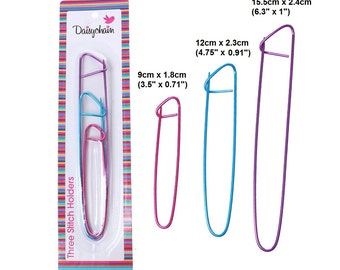 """3pcs Aluminum Knitting Stitch Holders - 3 Sizes = 6.3"""" - 4.75"""" - 3.5"""""""
