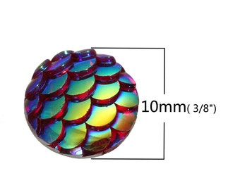 10 pcs Mermaid Fish Scales Resin Carved Embellishment Cabochons Dark Red AB - 10mm (3/8 in)