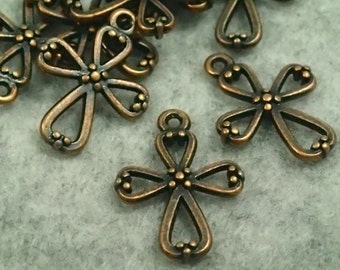 Antique Copper Hollow Dots Cross Charms - 20pcs