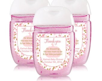 Personalized Mini Hand Sanitizer Labels Pink And Gold For Baby Shower Favors Little  Pumpkin