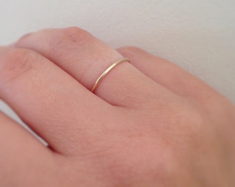 Yellow gold ring, solid gold 9ct, stacking, wedding, thin hammered stacking rings, dainty ring, wedding, gift for her