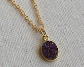 "Natural Purple druzy oval bezel charm on 18"" 18K gold filled necklace / Fine Jewelry / other chain length options"