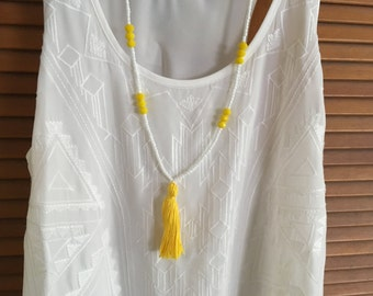 SALE Long beaded tassel necklace / white & yellow / other colors available / boho chic