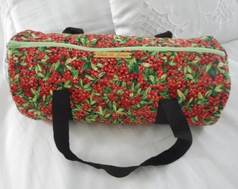knitting bag quilted.  cosmetic bag, crafts bag,