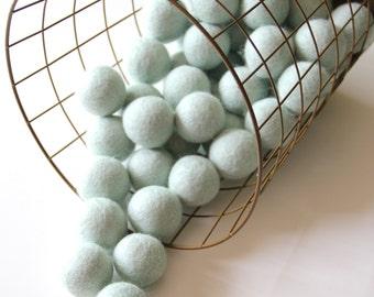 Felt Balls- Mint Blue- 10 Pk- 40mm