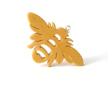 Bee Necklace Wood Scroll Saw Insect Pendant Wooden Bug Jewelry Wood Bee Pendant Necl;ace