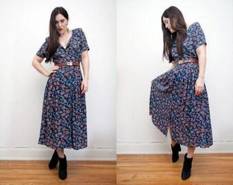 Vintage Floral Garden Tea Dress Cotton Grunge Revival 90s Mini dress