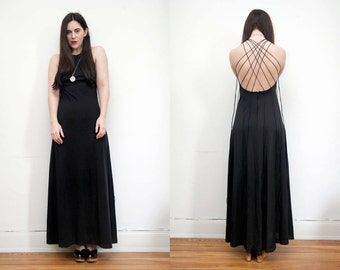 Vintage Halter Black Sun Strap Open Back Dress, Strappy Dress Backless Dress Boho GYPSY Wedding Maxi Dress