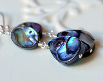 Abalone Earrings, Dangle Earrings, Paua Shell, Wire Wrapped, Sterling Silver Jewelry