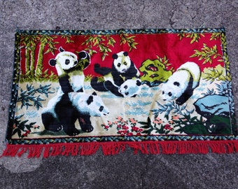 Vintage Chenille Panda Bear Rug or Wall Hanging Tapestry 36 by 12