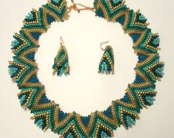 Teel Green Turquoise Bronze Copper TEXTURED PEYOTE Beaded Necklace Earrings Set