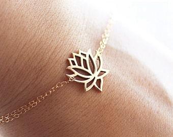 Dainty Lotus Bracelet, Lotus Flower Charm, Lotus Jewelry, Lotus Anklet, Yoga Jewelry, Gold Lotus, Sterling Silver, Dainty Lotus Necklace