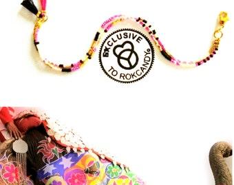 Tassel Bracelet, fringe bracelet, yogajewelry, freepeople, bohobracelet, hippie bracelet, beaded bracelet, meditation jewelry, GiGi Bracelet