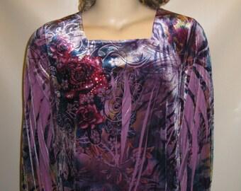 VELVET Roses Purple Tones RHINESTONES Blouse Plus 2X