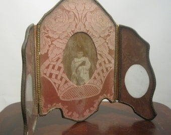 Sale!! VICTORIAN 3 Way Dusty Rose DAMASK Shabby Picture Frame CHIC Ca. 1870