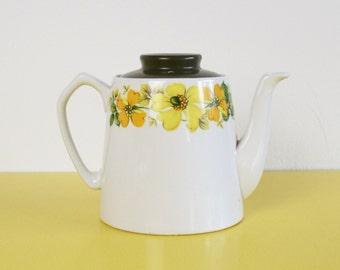 SALE Vintage Floral Teapot, Vintage Summertime Myott Ceramic Tea Pot, Yellow Floral Teapot, Ironstone Myott Teapot, Yellow and Green Teapot