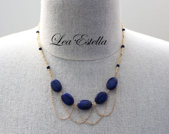 Egyptian Necklace, Egyptian Jewelry, Royal Blue Navy Blue Necklace, Lapis Lazuli Necklace, Blue and Gold necklace - Royal Blue