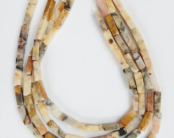 Crazy Lace agate  long rectangle tube  beads , (14x4mm), FULL STRAND 15.5 inches