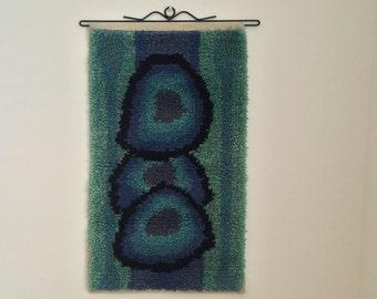 Hand Woven Rya Rug  - Prime 17, Loom Woven Rya Rug, Wall Hanging, Fiber Art, Tapestry Wall Hanging Textile Art Fibre Art