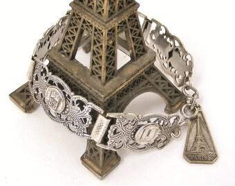 Vintage art deco silver plated Paris souvenir bracelet with eiffel tower fob