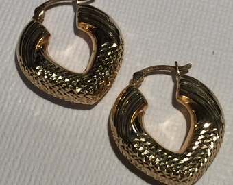 14kt Gold Hoop Cuff Earrings