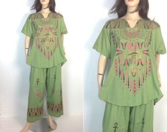 Vintage Egyptian Pants Set Unique Lounging Pajamas Hostess Set