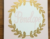hand painted personalized nursery art - metallic gold and pink- nursery art- custom colors and sizes available-
