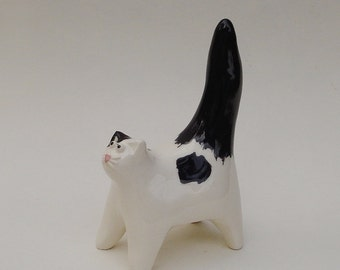 ceramic cat, white and black miniature