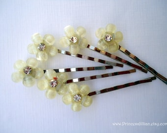 Bridal Cabochon bobby pin - Petite silvery champagne glitter and ebony black flower with rhinestone decorative embellish jewel TREASURY ITEM