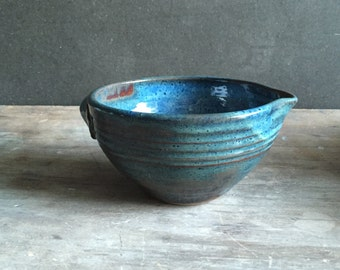 2 Cup Batter Bowl,  Stoneware Ceramics & Pottery Keramik Baking Kitchen Serving Bowl with Pour Spout in Moody Blue *Made to Order*