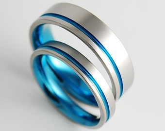 Wedding Bands , Titanium Rings , The Cosmos Bands in Sky Blue