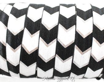 Black Silver Arrow Printed Fold Over Elastic 5/8 inch FOE, Aztec, Tribal, Headbands, Hair Ties, Elastic By the Yard - Hairbow Supplies, Etc.