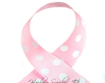 Light Pink Polka Dots 7/8 inch Polka Dot Grosgrain Ribbon - Polka Dot Ribbon, Polka Dot Hair Bow, Polka Dot Bow, Ribbon By The Yard