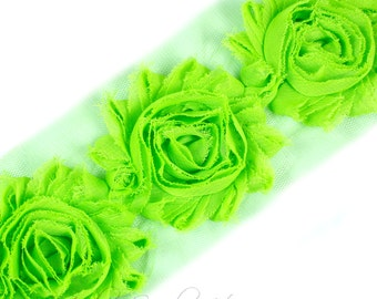 Lime Shabby Flower 2-1/2 inches - Lime Shabby Flowers, Lime Flower Headband, Lime Fabric Flower, Lime Hair Flowers, Lime Flowers