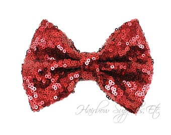 Burgundy Large Sequin Bows 4 inch Bows - Bow Applique, Sequin Bow, Large Bows, Big Bows, Wholesale Bows, Sequin Bow Tie, Sequin Bow Headband