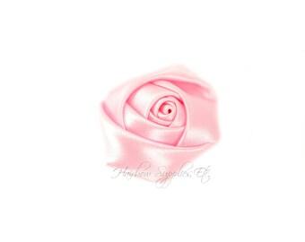 Light Pink Mini Satin Rolled Flowers Rosettes 1-1/2 inch - Light Pink Fabric Flowers, Light Pink Hair Flowers, Light Pink Silk Flowers