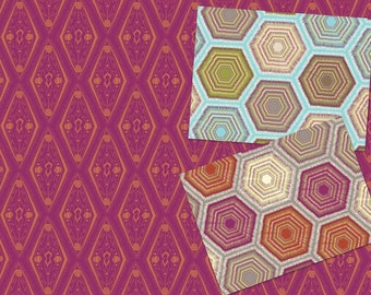 Geometriska Bundle - Garson Red Modern Afghan Red and Blue by Jessica Swift for Blend Fabrics - burgundy blue tan cotton quilting fabric