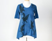 medium large and xl  indigo blue cotton knit a-line tunic hand dyed and printed with crow raven