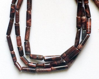 Red Tigers Eye Beads, Natural Red Tigers Eye Smooth Tube Beads, Red Tigers Necklace, 10-13mm, 10 Inch, 20 Pcs - RAMA90