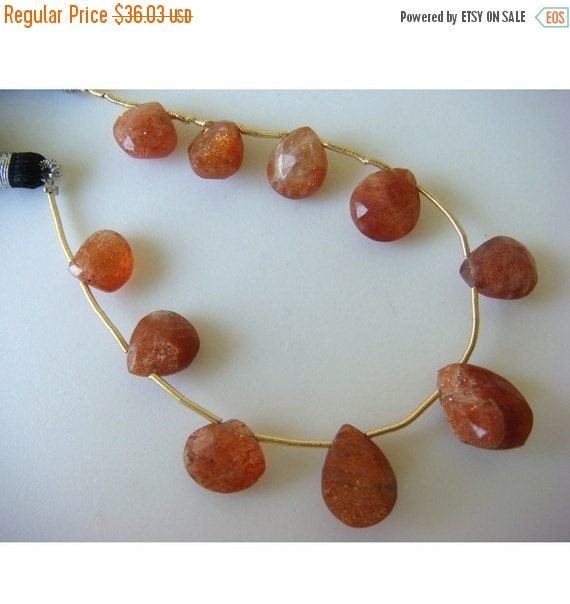 55% ON SALE Sunstone - Sunstone Drop Shaped Faceted Briolettes - 15x10mm To 7x7mm - 10 Pieces