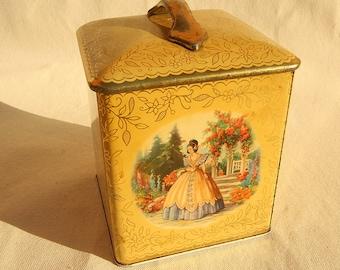 Vintage Yellow Tin with Handle Metal Box Company