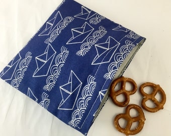 Reusable Snack Bag - Reusable Baggie - Boats Snack Bag - Fabric Snack Bag - Reusable Fabric Snack Bag - Paper Boats Blue